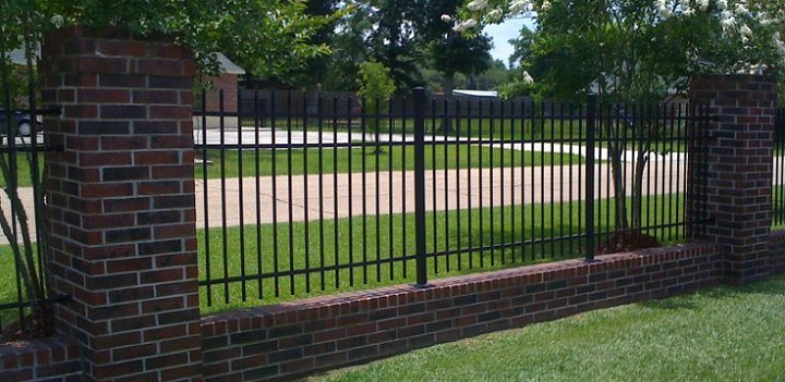 Wrought Iron Fencing with Brick Border
